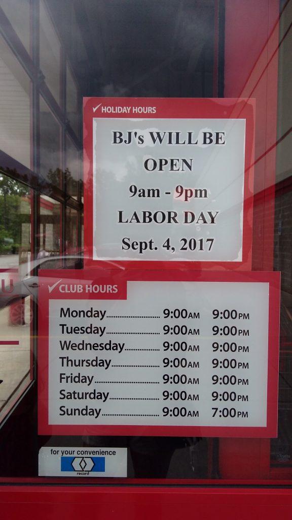 BJs labor day hours 2017