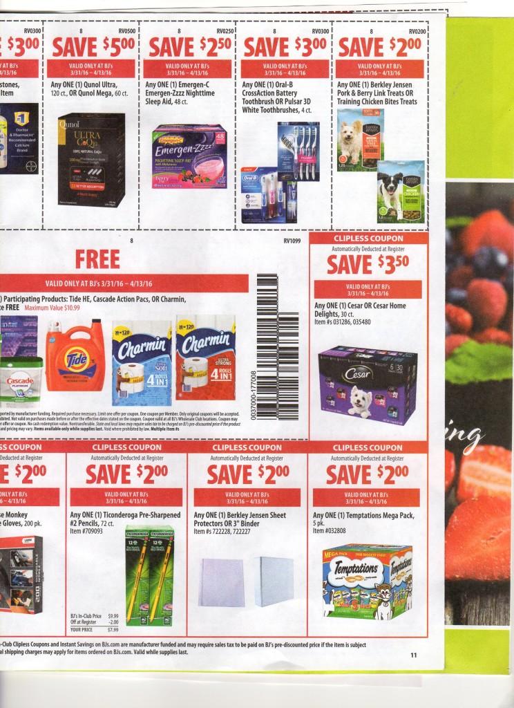 BJs front of club coupon matchups april 2016