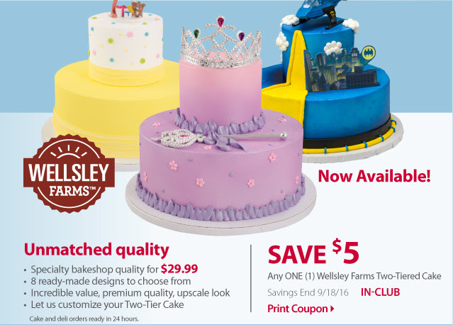 new $5 off BJs two tiered cake coupon