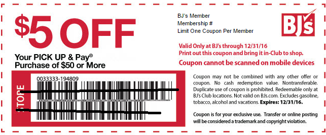 Pick Up & Pay Purchase Coupon