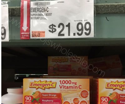 Emergen-c coupon deal at BJs