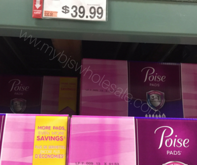 poise pads at BJs club price