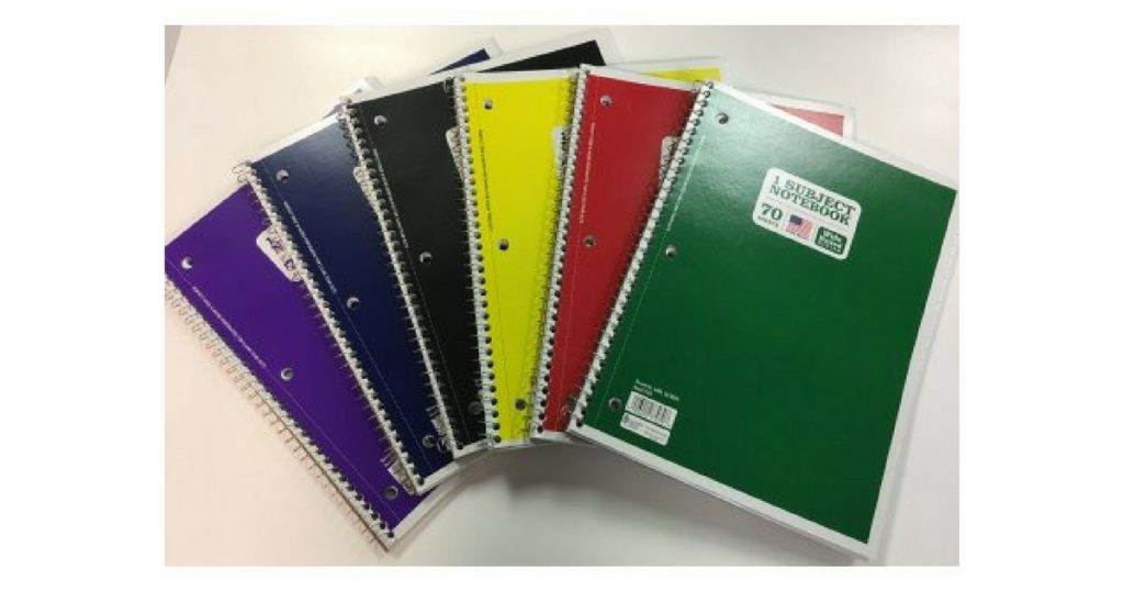 70 ct notebooks only $0.25 each