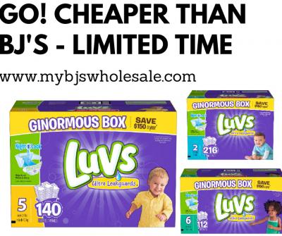 luvs diapers cheaper on Amazon than BJs wholesale