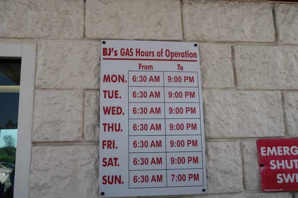 BJs Gas Promo hours
