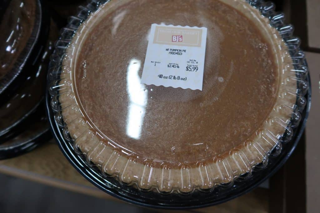 pumpkin pie at Bjs wholesale club price