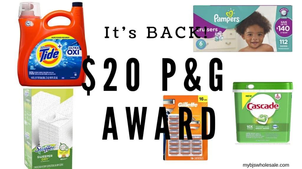 $20 P&G award at BJs wholesale club