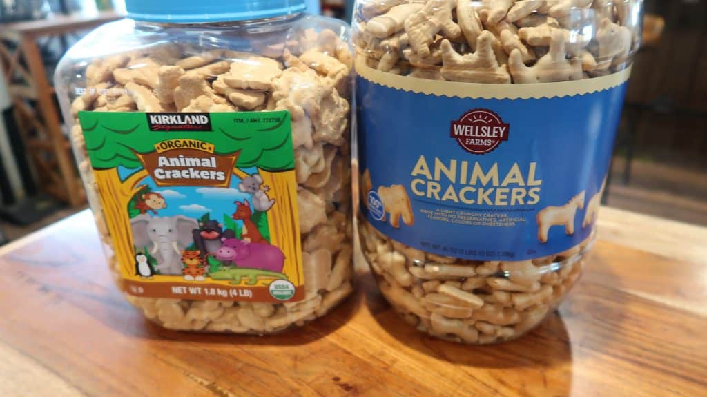 Kirkland brand organic animal crackers and BJs brand animal crackers