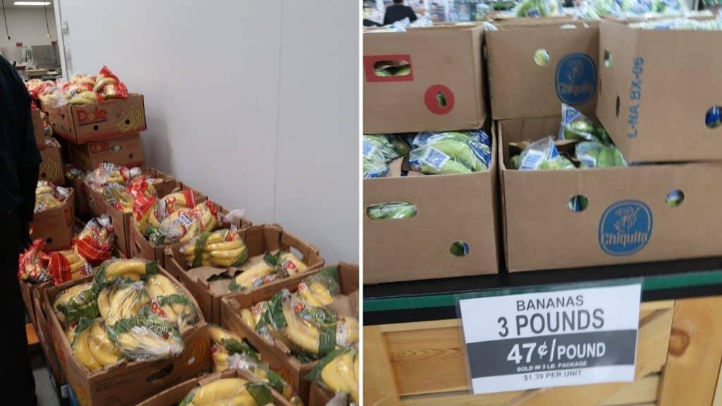 bananas prices at Bjs and costco