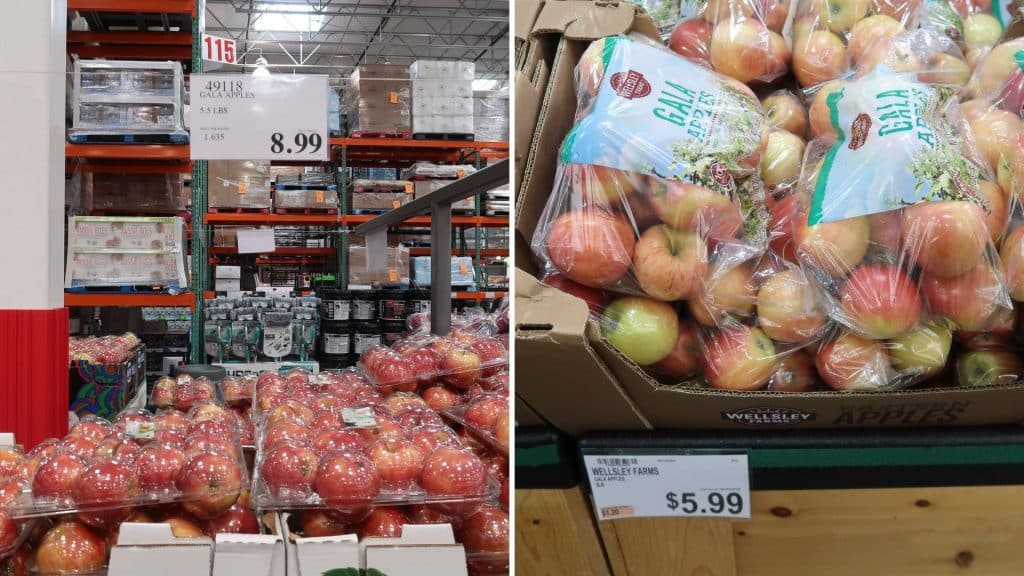 gala apples prices at BJs and costco