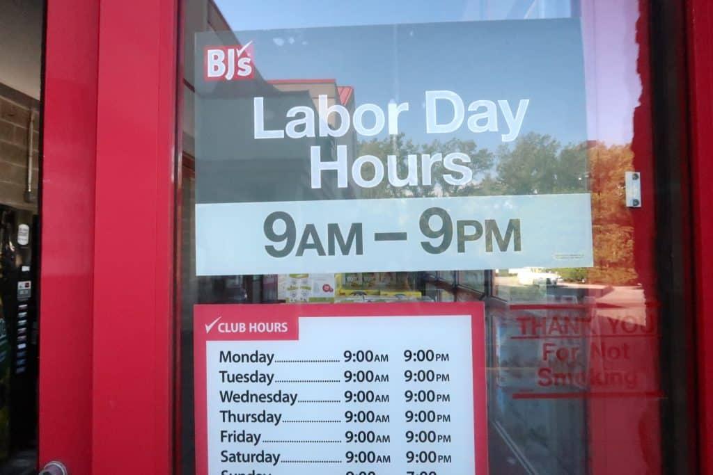 bjs wholesale club labor day hours 2019