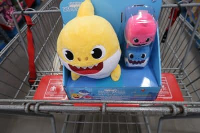 baby shark with mom and dad at BJs wholesale club