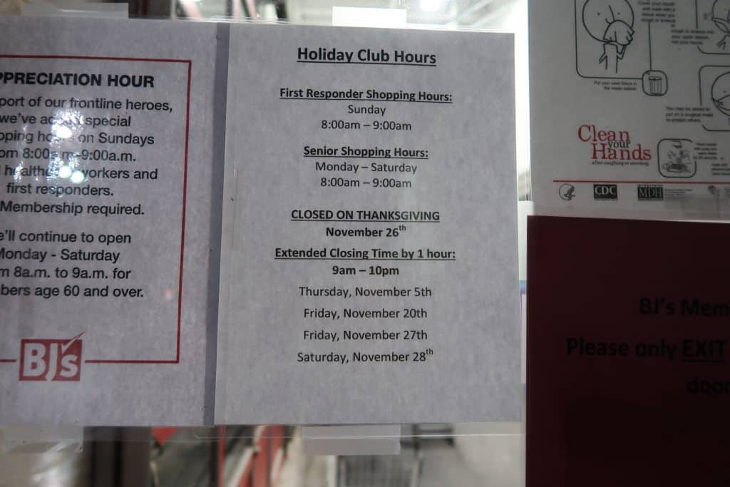 bjs wholesale club holiday hours