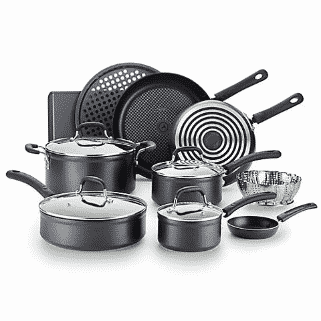 t fal 14pc forged aluminum cookware set