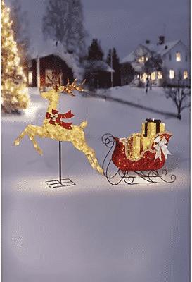 LED Reindeer and Sculpture Set