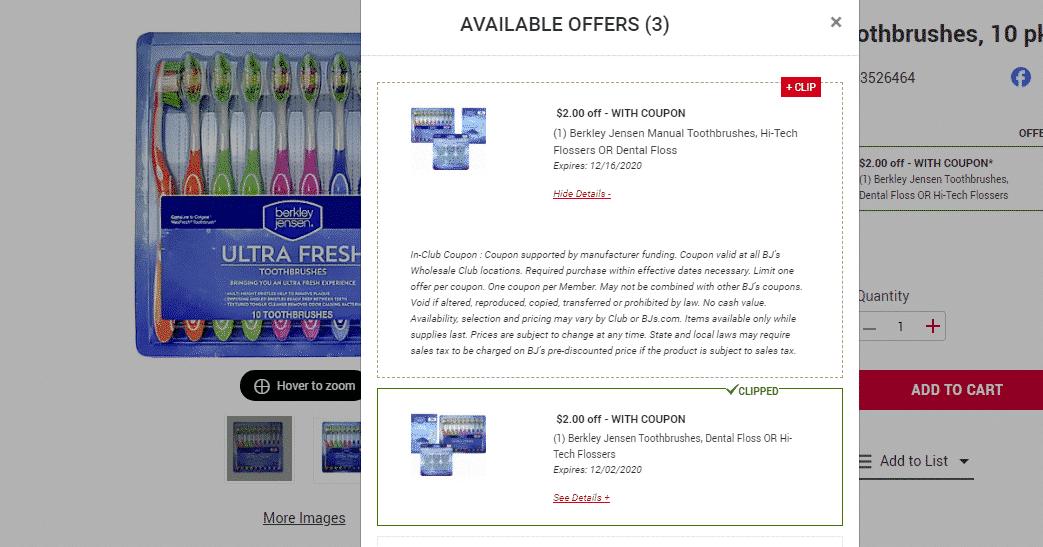 Berkley Jensen 10 Pk. Toothbrushes ONLY $5.99