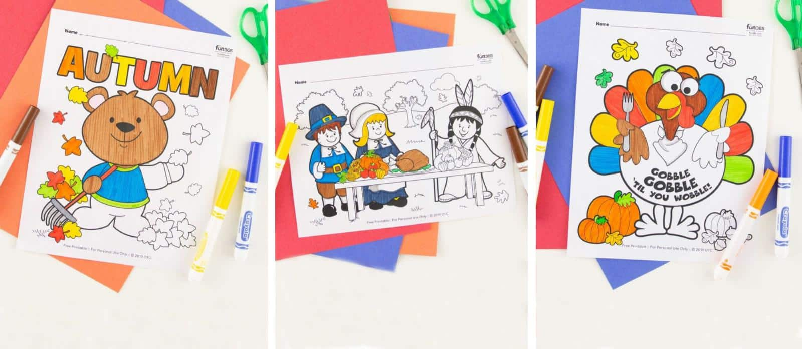 12 FREE Fall & Thanksgiving Coloring Pages