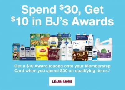 bjs spend $30 get a $10 award