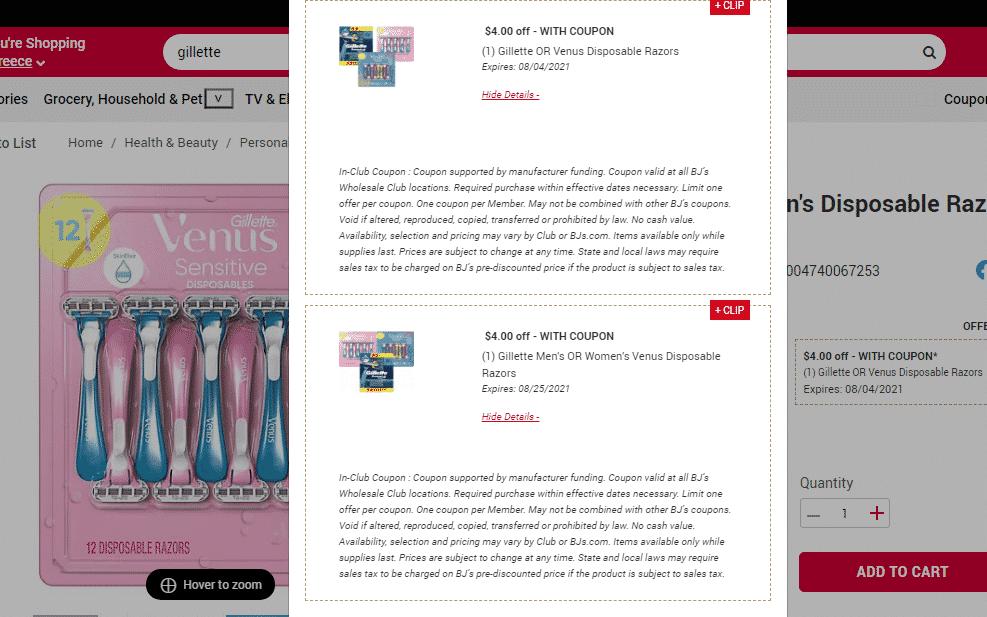 Coupon Stack for Gillette Venus Razor & Refills