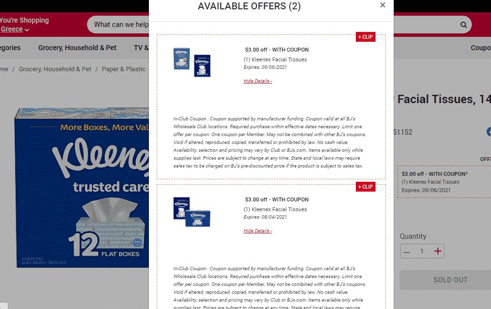 Coupon Stack for Kleenex at BJs! 83¢ a box!